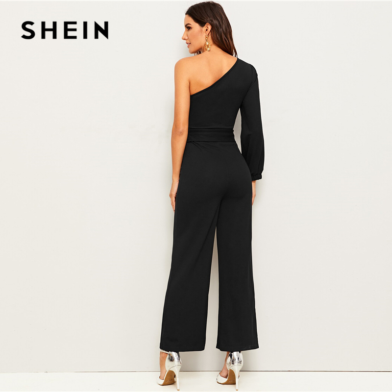 SHEIN Black One Shoulder Split Sleeve Wide Leg Belted Maxi Jumpsuit Women Autumn Solid Zipper Side Wide Leg Abaya Sexy Jumpsuits 2