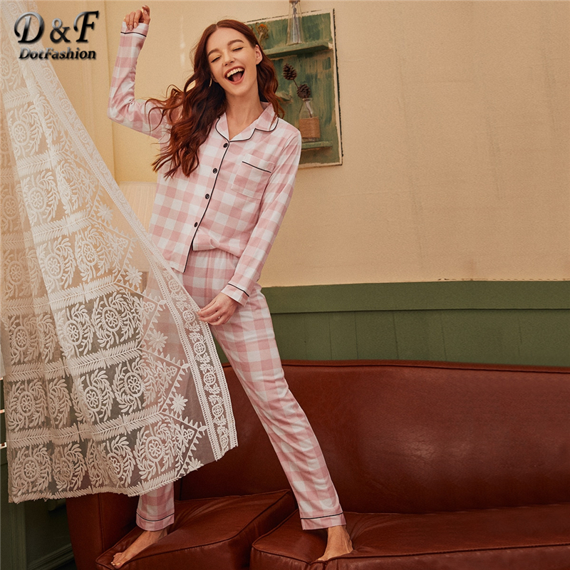 Dotfashion Pink Plaid Print Pajama Set Women 2019 Autumn Contrast Binding Long Pants Sets Ladies Pocket Detail Loungewear