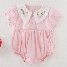 2020 novo coreano japão estilo bordado flor algodão macacão verão da criança do bebê menina macacão recém-nascido do bebê da menina
