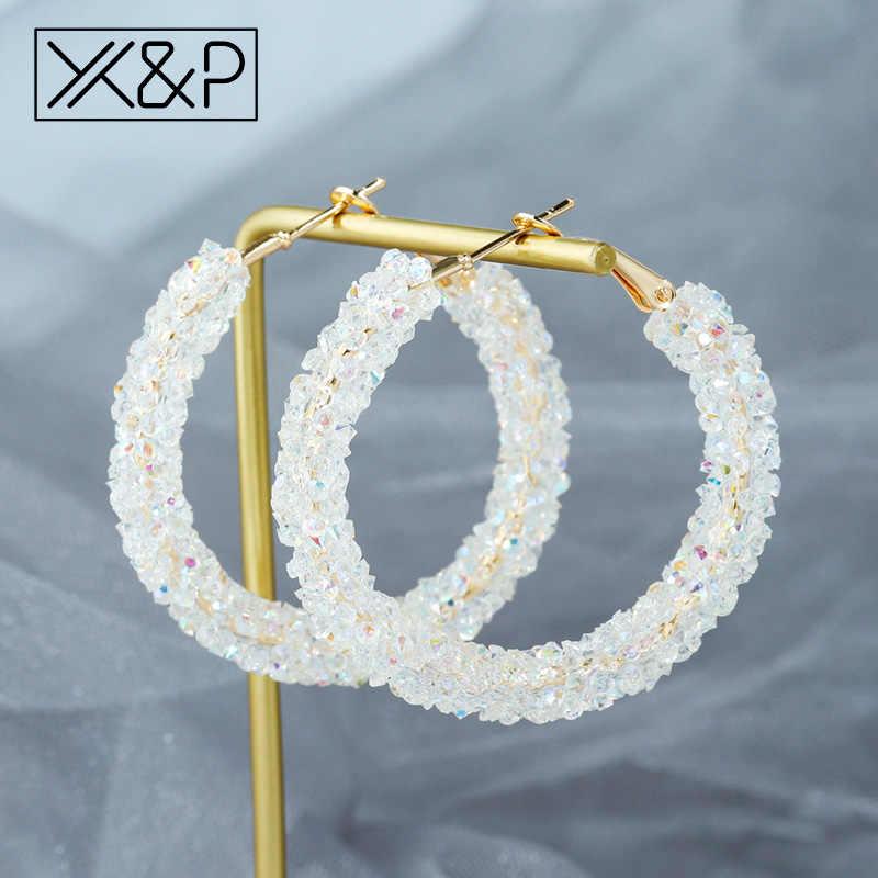 X & P ใหม่แฟชั่นคริสตัล Dangle Drop ต่างหูเกาหลีสำหรับสตรี VINTAGE Rhinestone ออสเตรียรอบต่างหูงานแต่งงานเครื่องประดับ