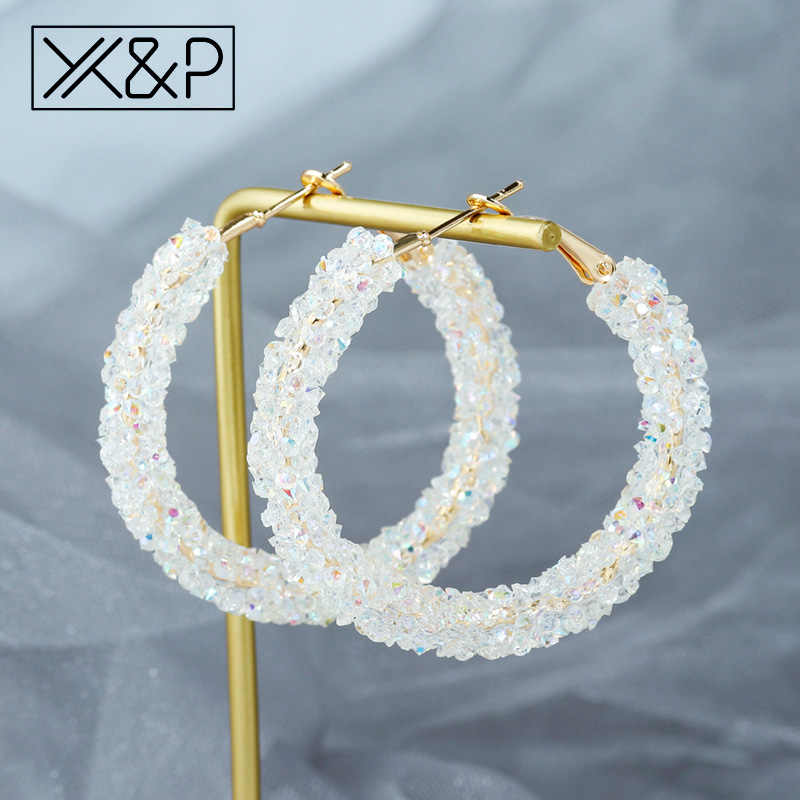 X & P New Fashion Crystal Menjuntai DROP Korea Anting-Anting untuk Wanita Vintage Berlian Imitasi Austria Bulat Anting-Anting Emas Pernikahan Perhiasan