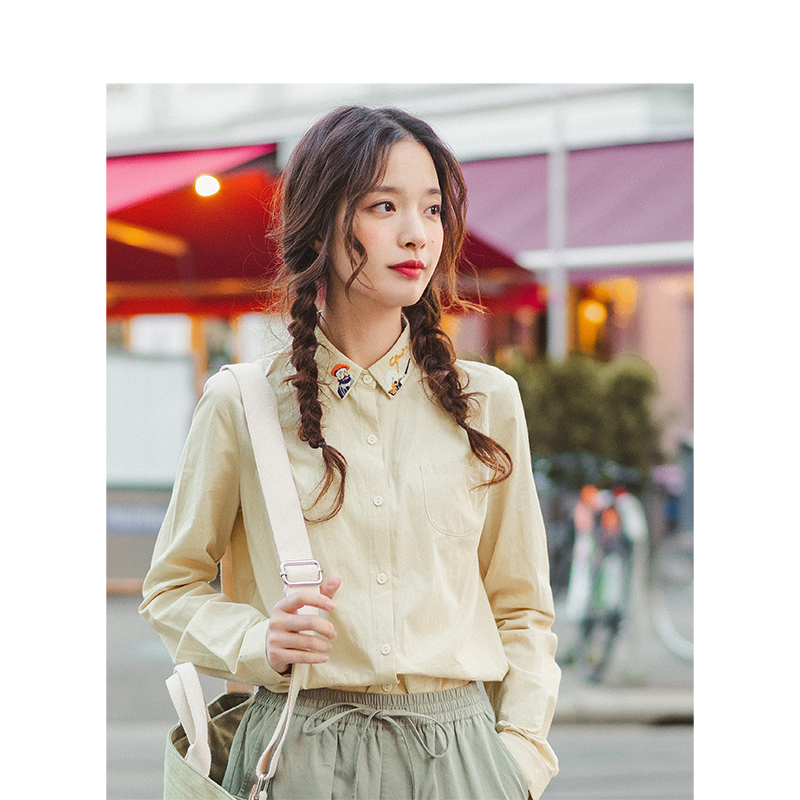 INMAN 2019 Autumn New Arrival 100%Cotton Pretty Embroidery Turn Down Collar All Matched Solid Literary Women Blouse