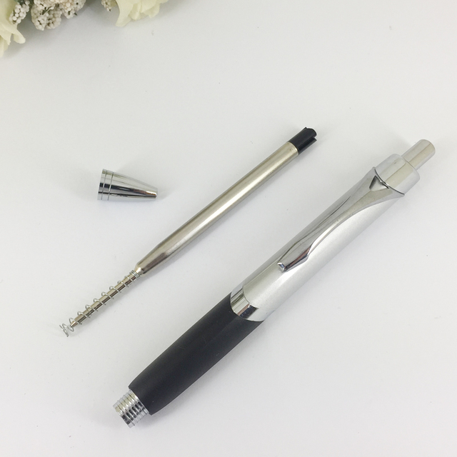 Fashionable Triangle Ballpoint Pen with Soft Rubber Grip Silver & Red Pen Retractable Press Push Writing Stationery Unisex Gifts 3