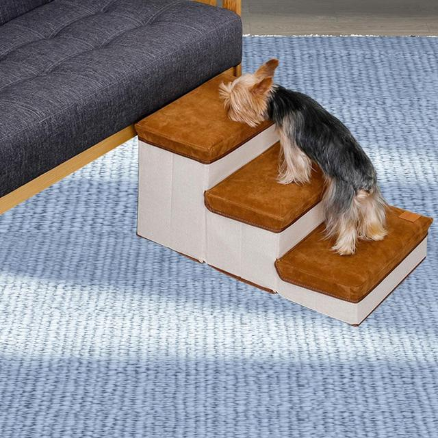 Hengjierun Foldable Storage Pet Dog Stair Steps Pet Ramp For Dogs Puppies Up To 55 Pounds Indoor Foldable Steps For Dogs And Cats 3-step Storage Style Pet Stair