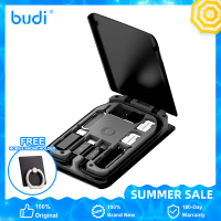 BUDI offizielle Multi-funktion Smart Adapter Karte Lagerung Datenkabel USB Box Karte Reade Universal Wireless Ladegerät für Android IOS