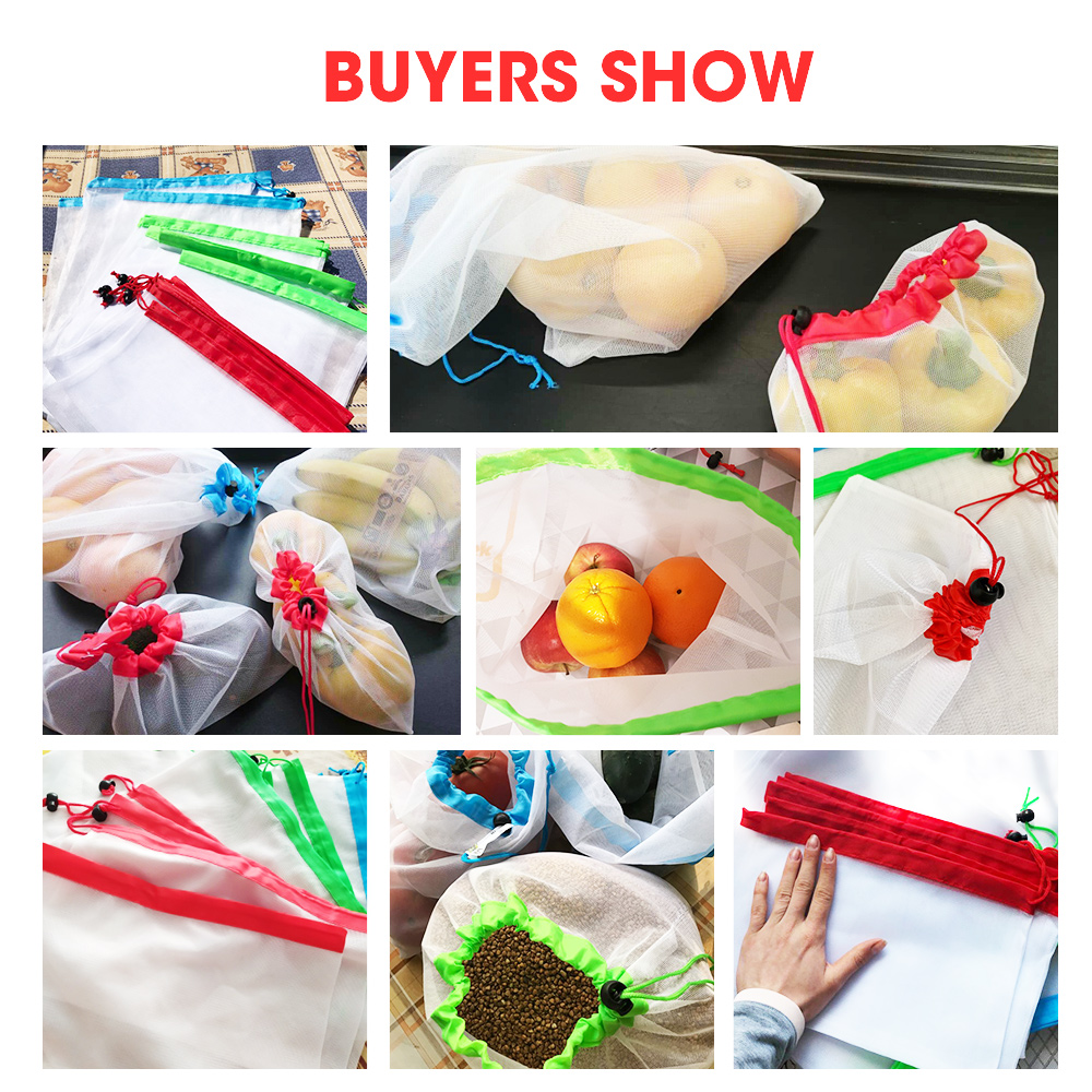 15pcs 3 Sizes Reusable Mesh Produce Bag Washable Mesh Bags for Grocery Bag Holder Pouch Fruit Vegetable Kitchen Organizer