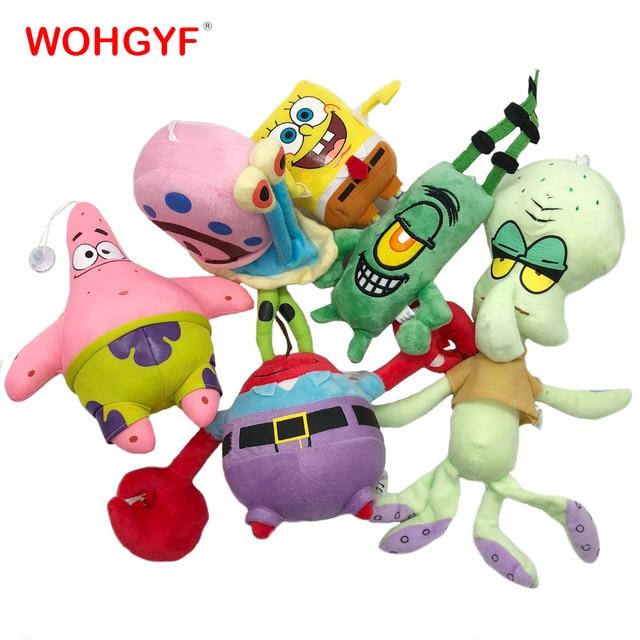 6 Styles Cartoon Plush SpongeBob Patrick Star Squidward Tentacles Eugene Sheldon Gary Dolls Stuffed Toys Kids Girls Gifts