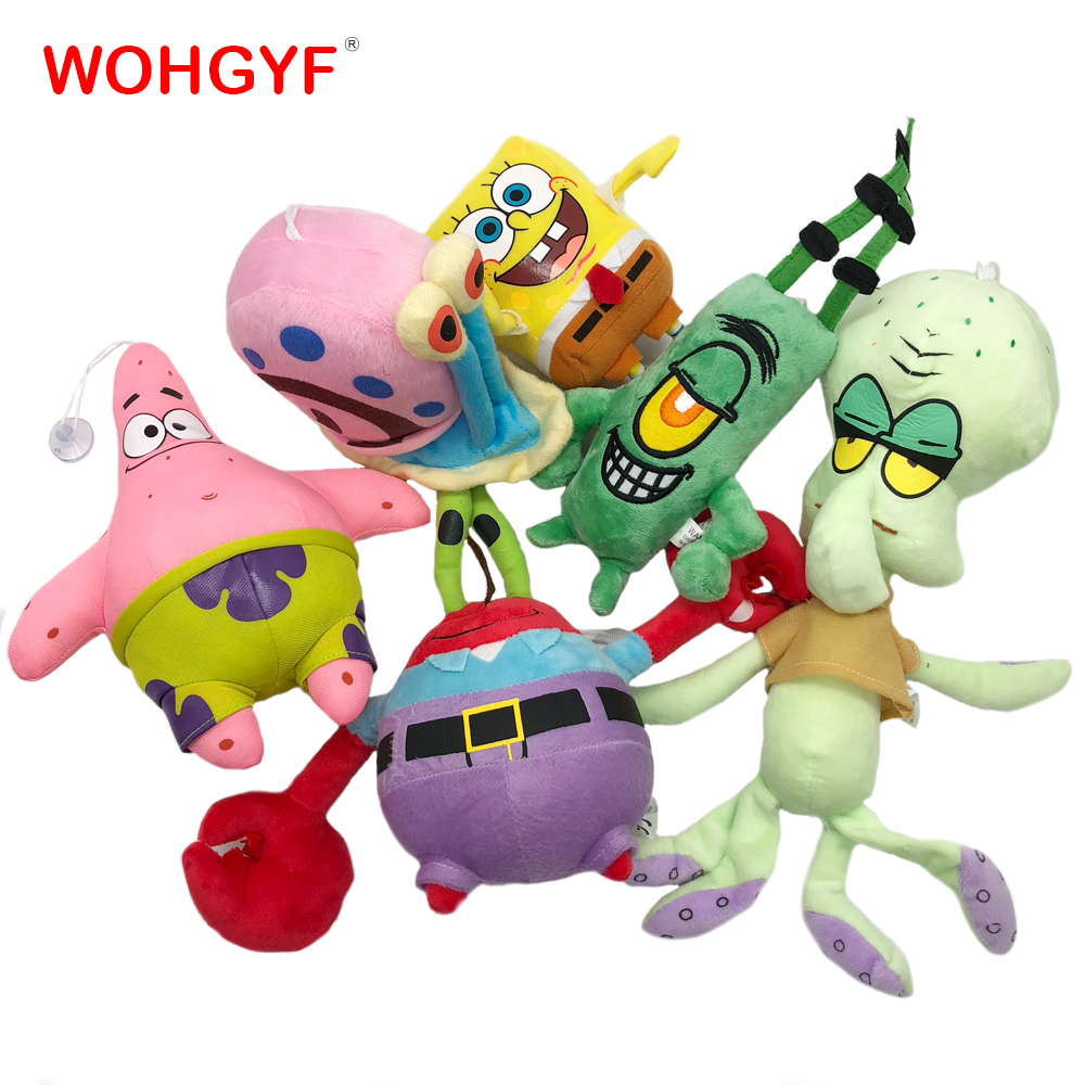 6 Styles Cartoon Plush SpongeBob Patrick Star Squidward Tentacles Eugene Sheldon Gary Plush Toys Stuffed Toys Kids Girls Gifts