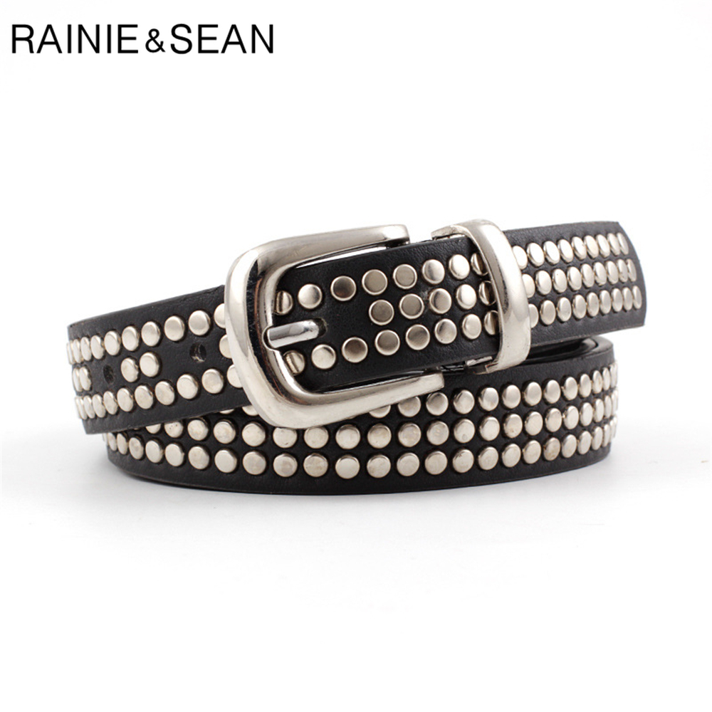 RAINIE SEAN Punk Rock Leather Belts For Women Rivet Black Red White Camel Women Belts 110cm