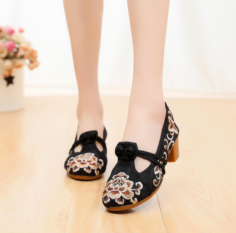 Обувь с вышивкой; Новинка; Женская обувь на высоком каблуке