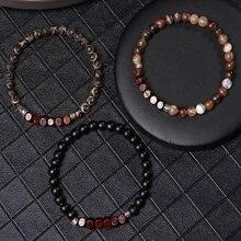 6 мм круглый натуральный камень квадратный блок деревянные браслеты