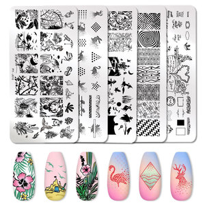 Image 2 - PICT YOU Nail Stamping Plates Tropical Collection Nail Art Stamp Templates DIY Nail Image Plate Stainless Steel Design Tool