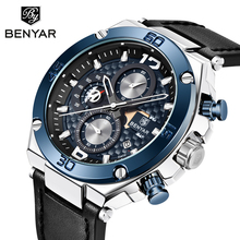 купить Watch Men BENYAR Quartz Chronograph Mens Watches Top Brand Luxury Gold Watch Fashion Genuine Leather Clock Relojes Hombre 2019 по цене 1823.02 рублей