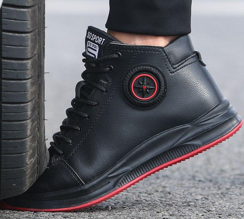 ฤดูใบไม้ร่วงของแท้รองเท้าหนังผู้ชายรองเท้าผ้าใบกันน้ำ STEEL TOE CAP รองเท้าเพื่อความปลอดภัย Luxury Designer ทำลายรองเท้า