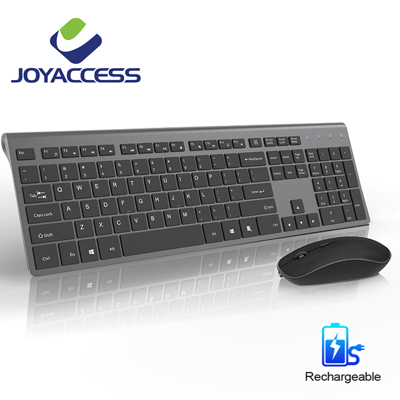 Wireless Keyboard Mouse Set Rechargeable Mouse 2400DPI Korean/French/German/English/Italian/Spanish Keyboard For Laptop
