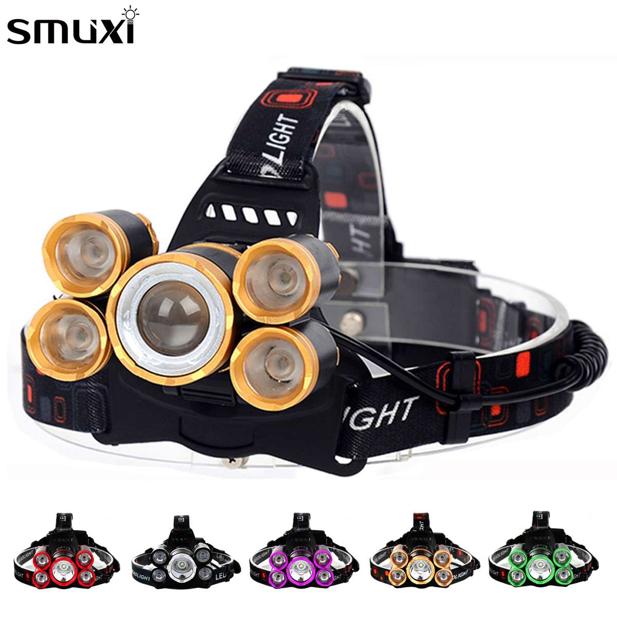 Smuxi 80000 Lm 5x T6 Rainproof LED Headlamp USB Headlight Head Torch 4 Mode For Outdoor Camping Emergency Head Light
