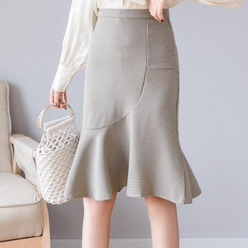 2019 High-waisted Thousands Of Birds Skirt Women's Early Autumn New Style Korean-style Mid-length Fishtail Plaid Sheath Skirt
