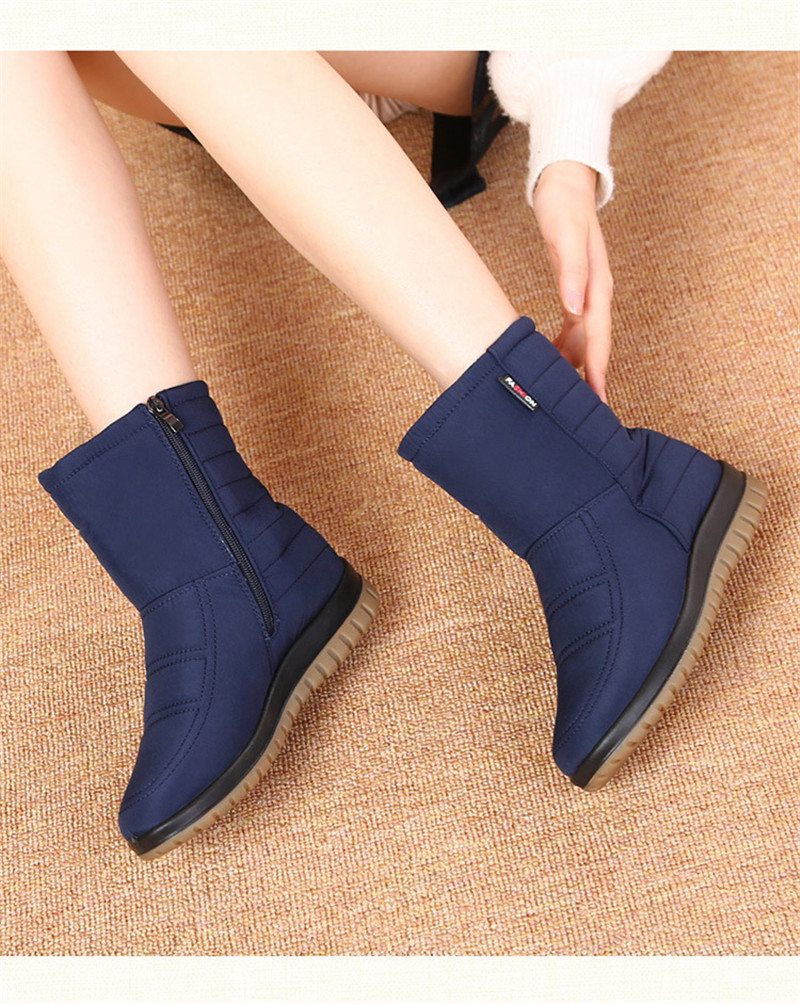 TIMETANGPromotion Women's Snow Boots Woman Ankle Platform Wedges Fashion Slip-on New Winter Plus Velvet Waterproof WarmShoesE925