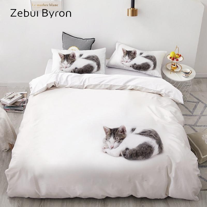 3D Luxury Bedding Set Custom/King/Europe/USA,Duvet Cover Set,Quilt/Blanket Cover Set,Bed Set Animal Sleeping Cat,drop Ship