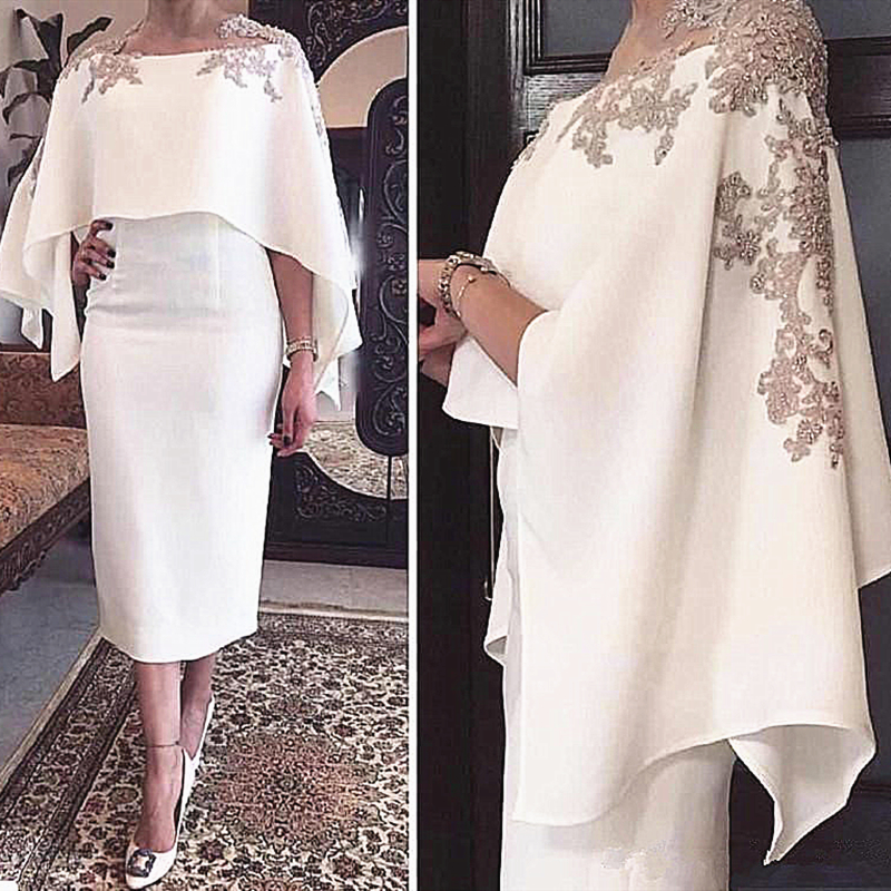Tea Length Short Mother of the Bride Dress with Shawl Wrap Appliqued Lace Column Wedding Party Formal Occasion Evening Gowns