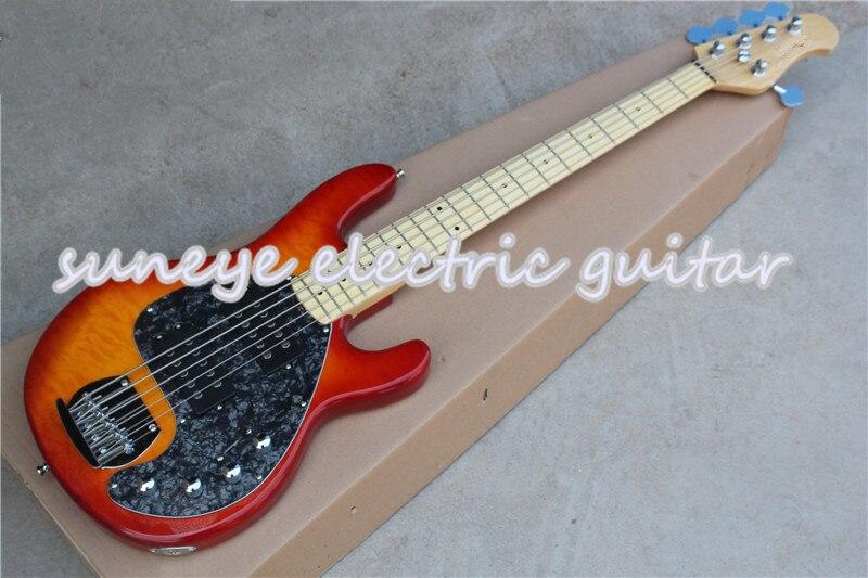 Горячая продажа вишневая электрическая бас гитара 5 струнная музыкальная мужская стильная Sting Ray 5 электрическая бас гитара кленовый гриф бас гитара