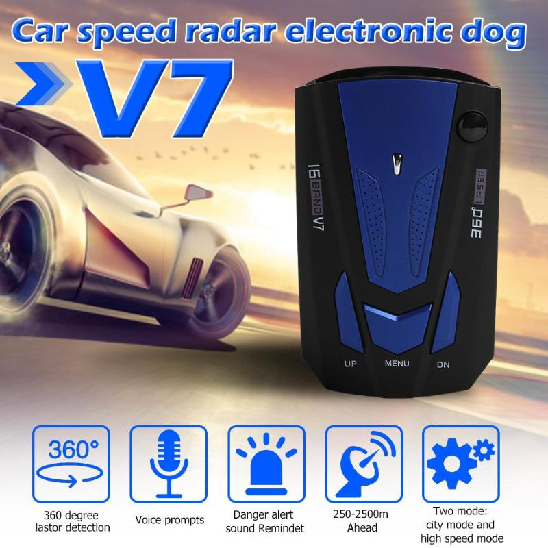 V7 Car Radar Detector English Russian Auto 360 Degree Universal Vehicle V9 Speed Voice Alert Alarm Warning X K KA Band