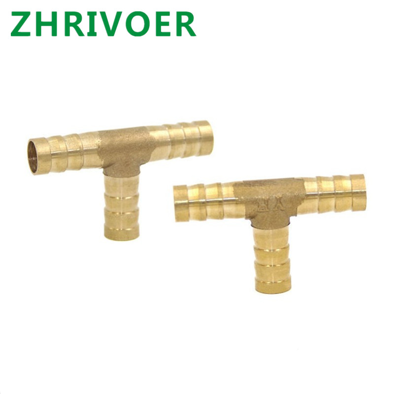 T Way T-Shape 4mm 5mm 6mm 8mm 10mm 19mm Hose Copper Pagoda Water Tube Fittings Brass Barb Pipe  Hose Fitting 3 Way Connector For