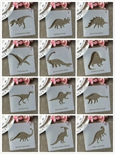 12Pcs/Set 13cm Dinosaur 12 Collection DIY Layering Stencils Painting Scrapbook Coloring Embossing Album Decorative Template