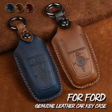 Top Layer Leather For Ford Fusion Mustang F150 250 Explorer Expedition Edge Genuine Leather Key Fob Shell Holder Cover Case