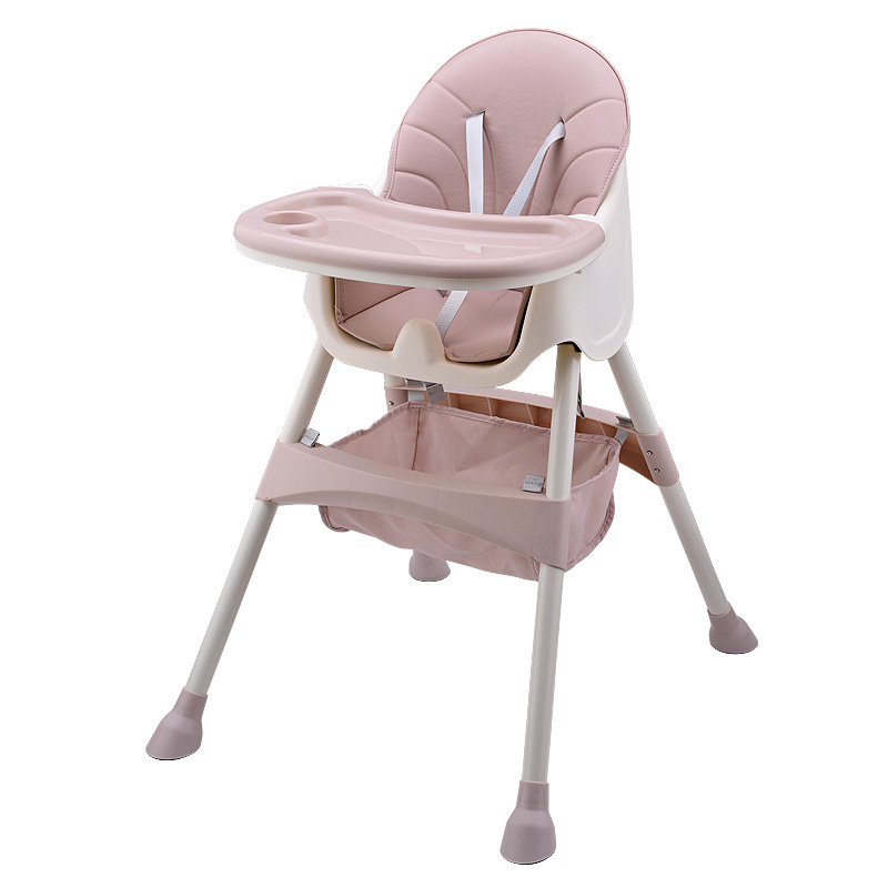 High Chair for Babies and Toddlers Folding and Portable Dining Chair for Boys and Girls 5-piont Harness and Adjustable Height Legs with Removable Tray - Khaki 6 Months to 4 Years Old