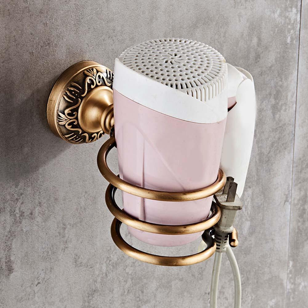 Gold Hair Dryer Holder Space Aluminium Bathroom Wall Shelf Hair Dryer Rack With Basket Bathroom Accessories