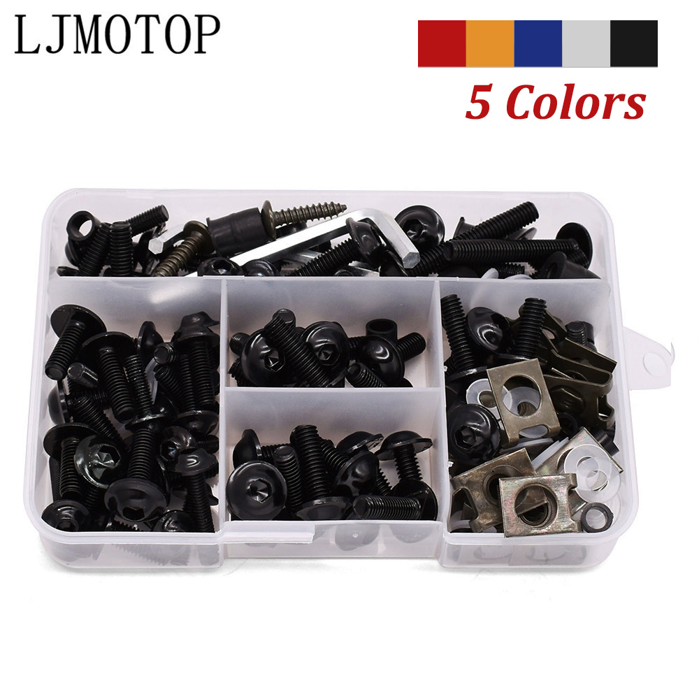 175pcs Universal Motorcycle Fairing Bolts Screws Nuts Kit Fastener Clips For BMW HP2 Enduro K1200S K1300S/R/GT K1600GT/GTL F800S image
