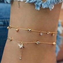 Ножной браслет в стиле бохо для женщин, многослойный золотистый ювелирный браслет на лодыжку с кристаллами, цепочка для ног, пляжные аксесс...