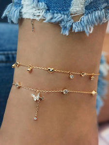 Butterfly Anklet Jewelry Leg-Bracelet Foot-Chain Beach-Accessories Crystal Boho Gold