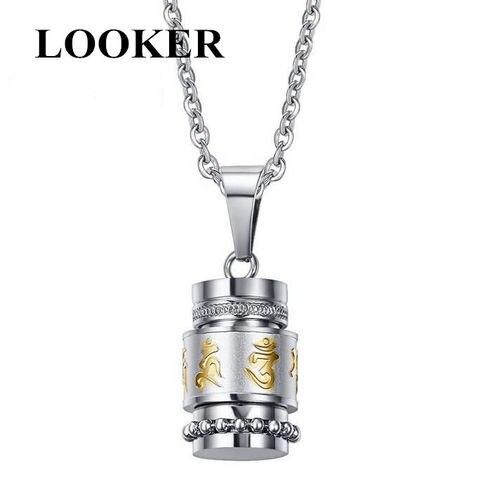 Купить looker из нержавеющей стали буддизм шесть слов вращающийся ожерелье
