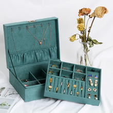 Retro Green Jewelry Box Portable Storage Organizer Earring Boxes Vintage Packaging Jewellery Storage Display Case for Travel New