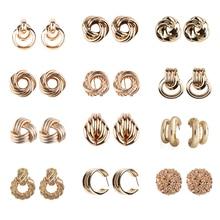 Pendientes Girlgo Vintage 12 diseño de Metal colgantes para mujeres encanto Color dorado Za pendientes llamativos Maxi regalo de Navidad Porm Jewelry