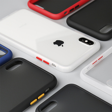 Matte Translucent Case For iPhone XS Max XR X Shockproof Armor Phone 7 8 Plus Hit Color Button Hard Cover