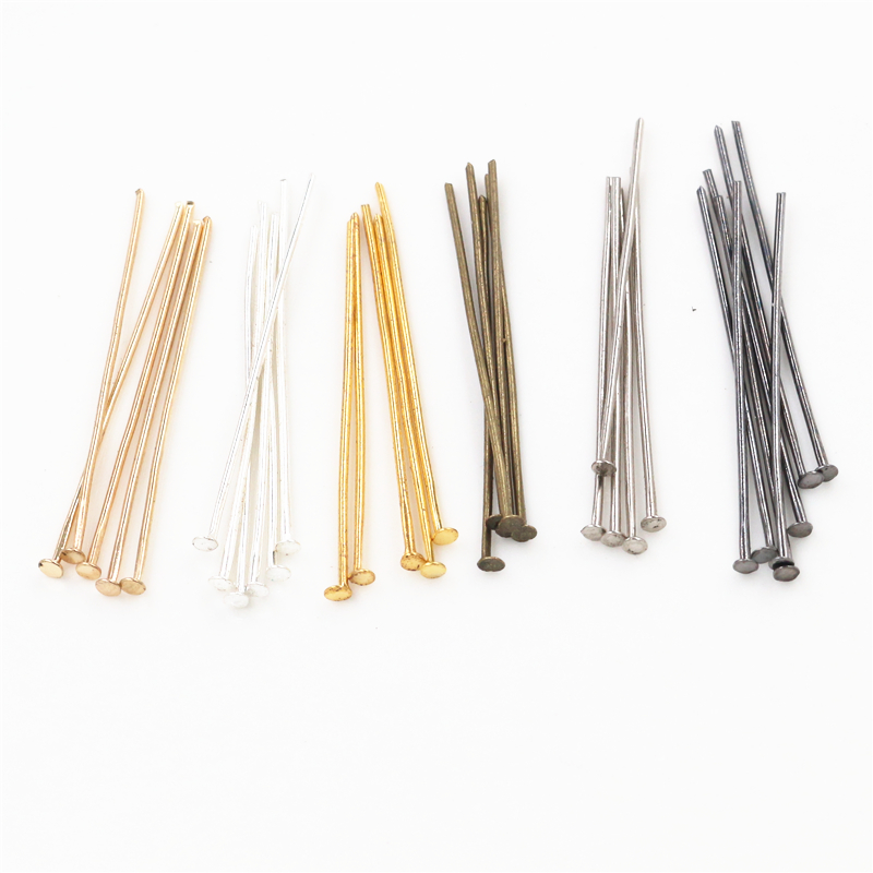 200pcs/bag 16 20 25 30 35 40 45 50mm Flat Head Pins Gold/Silver Color/Rhodium Headpins For Jewelry Findings Making DIY Supplies
