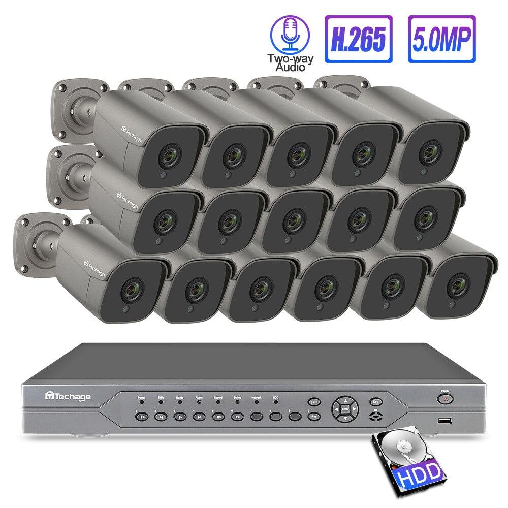 Techage 16CH 5MP 48V H.265 POE NVR Sicherheit System AI POE IP Kamera 2-Weg Audio MIC Lautsprecher onvif CCTV Sicherheit Überwachung Kit