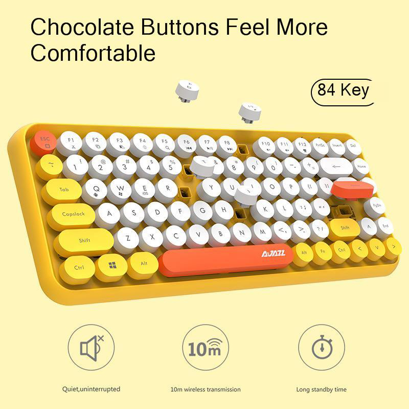 Image 4 - JellyComb Bluetooth Keyboard Retro Round Keycap Plastic Panel Colorful Border WaterproofMobile Phone KeyboardKeyboards   - AliExpress