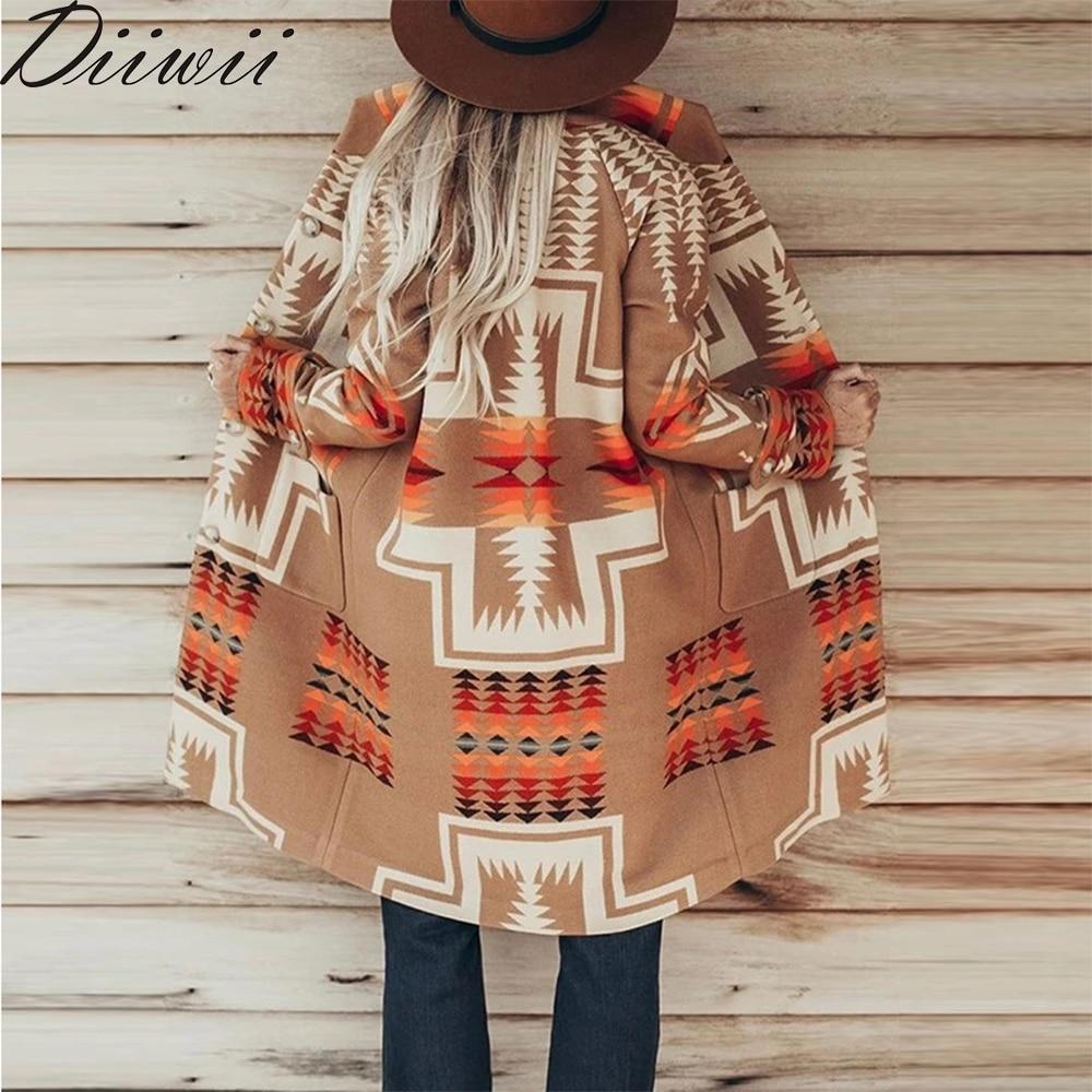 Permalink to Diiwii Sleeve Hippie Gypsy  Women Boho Khaki Ethnic Print Jackets Autumn Winter Long Coat Warm Outerwear Female