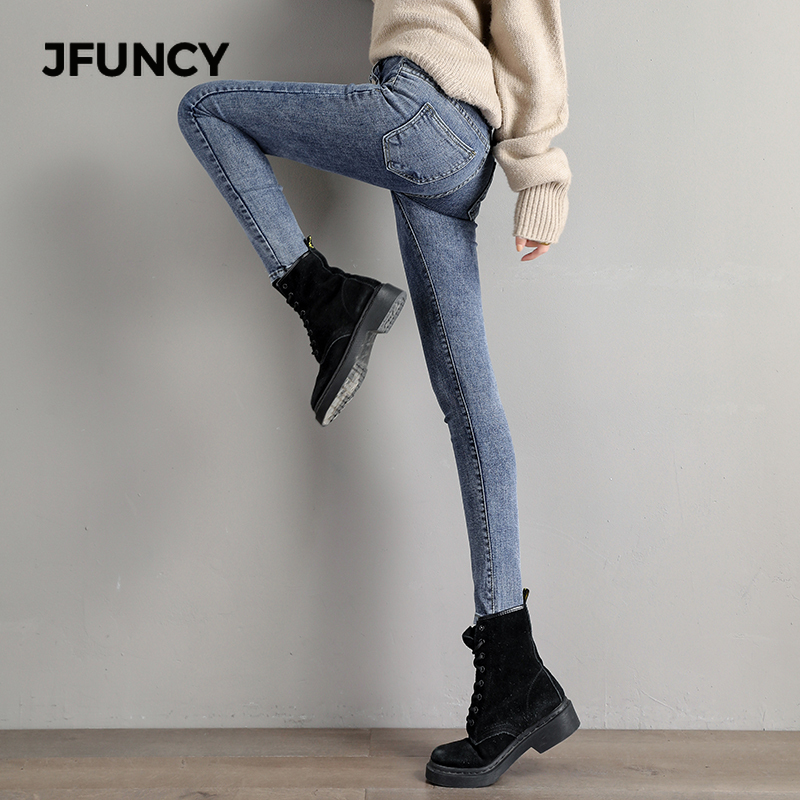 JFUNCY New Women's Jeans Korean High-waisted Women Denim Pencil Pants Female Skinny Jean Pants Slim Legs Casual Vintage