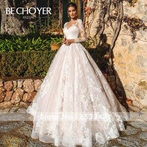 Image 3 - Vestido de Noiva Sweetheart Long Sleeve Wedding Dress Fashion Appliques A Line Court Train Princess Bride Gown BECHOYER K182