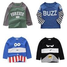 Новые весенние хлопковые футболки с рисунком для мальчиков и девочек, детские футболки, футболки с длинными рукавами для мальчиков и девочек, детские топы, брендовая одежда для малышей 12 мес.-8 лет