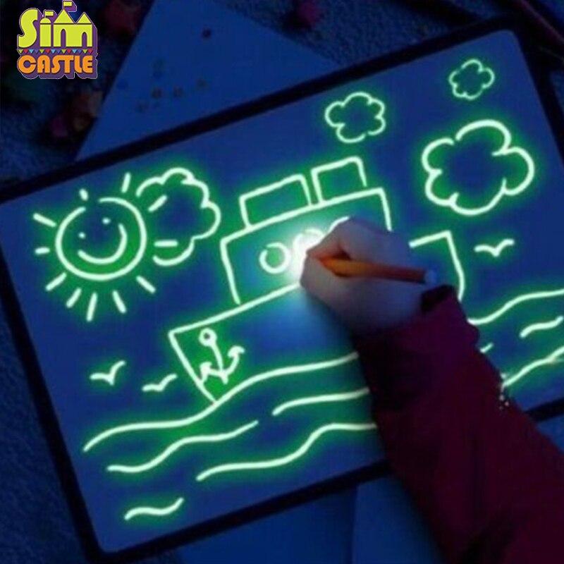 Флуоресцентный светильник, художественные игрушки, обучающая доска для рисования, волшебная Подушка, игрушка Oyuncak Brinquedos, игрушки для детей Игрушки для рисования      АлиЭкспресс