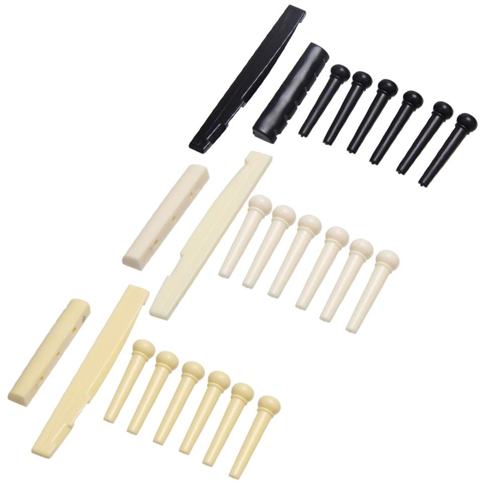 1Set 6 String Guitar Bone Guitar Bridge Pins Saddle Nut Ivory Acoustic Guitar Bridge Pin Cattle Lp Tailpiece Tremolo 3 Color