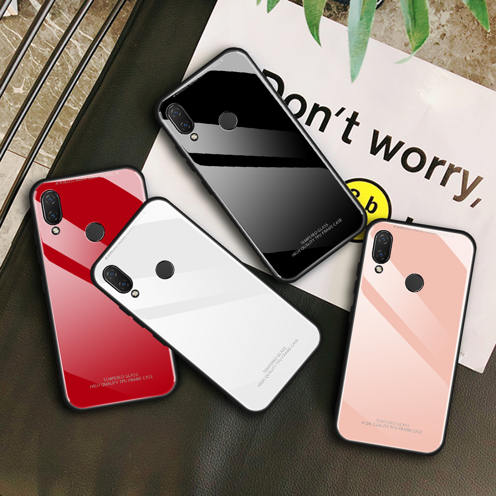 White Pink Phone Cover For Huawei Y7 Y9 Mate 20X 20 Lite Prime 2019 Protection Glass Case For Huawei Honor 10 8X Nova4 Nova 3i image