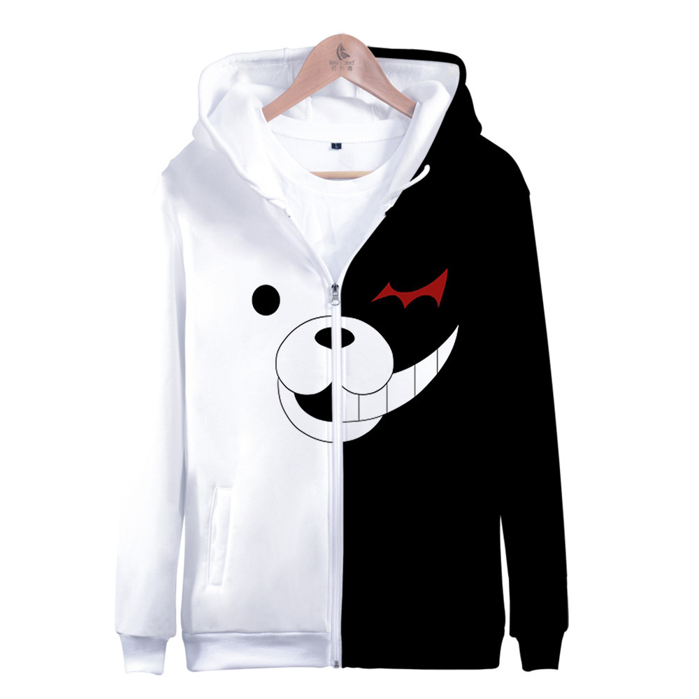 Danganronpa Monokuma Hoodie Hooded Jacket Zipper Coat Sweatshirt For Men Women Kid Girl Clothing Clothes Anime
