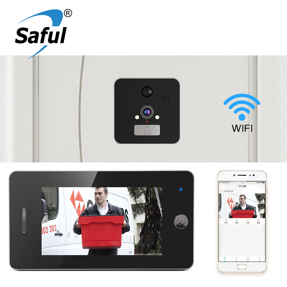Visionneuse de judas de porte de caméra de porte de Wifi de Saful 5